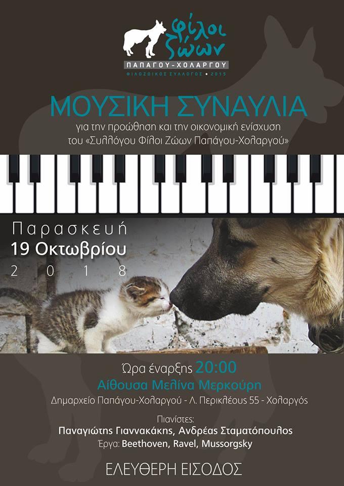 Συναυλία για ενίσχυση του συλλόγου Φίλοι ζώων Παπάγου - Χολαργού
